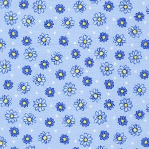 Flowerhouse Sunshine Flowers and Dots in Blues