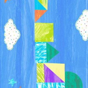 The Very Hungry Caterpillar-Bright Light Blue Castle Stripe