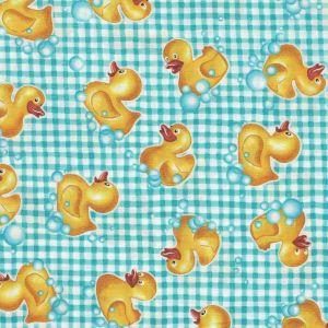 Tub Time Ducks on Plaid in Aqua