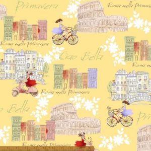 Ciao Bella Yellow Scenes from Rome