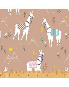 Cubby Bear Flannel Llama Fields in Tan