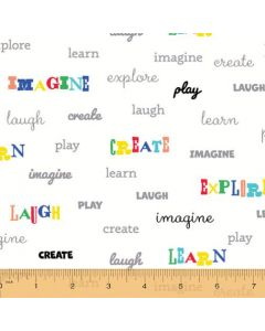Cubby Bear Flannel Playful Words in Cream