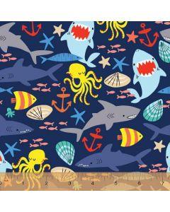 Cubby Bear Flannel Shark Sea Friends in Navy