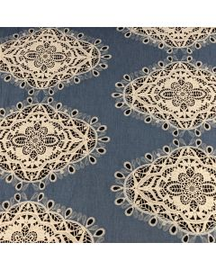Fashions by Frankie Embroidery Medallions Lightweight Denim in Blue