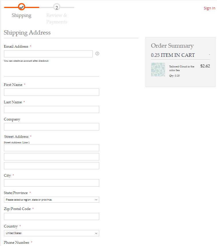 Checkout Shipping